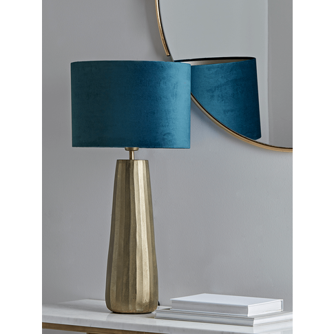 NEW Brass & Navy Tapered Table Lamp