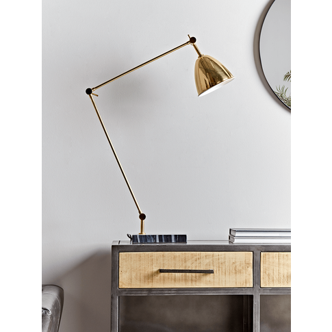 NEW Brass and Marble Desk Lamp
