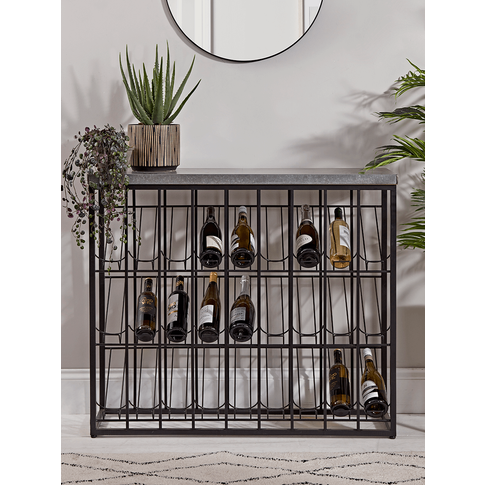 NEW Metal Topped Wine Rack