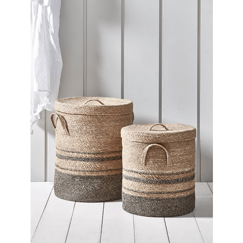 Two Striped Laundry Baskets