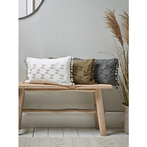New Linen Embroidered Cushion - Olive