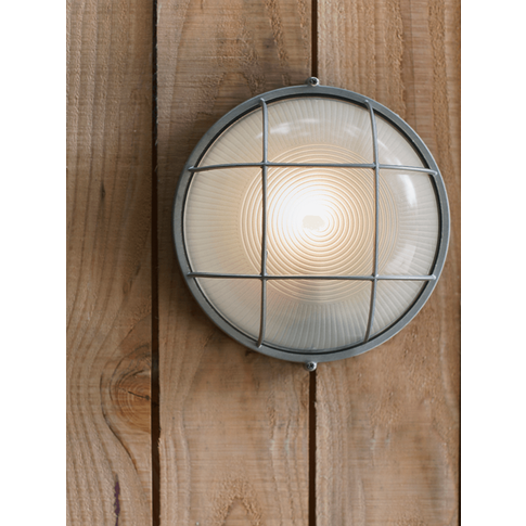 Round Bunker Wall Light - Zinc