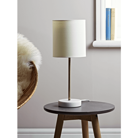Small Marble Base Table Lamp - Brass