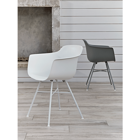 Two Arla Carver Dining Chairs - White
