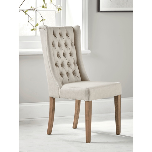 Two Buttoned Linen Dining Chairs