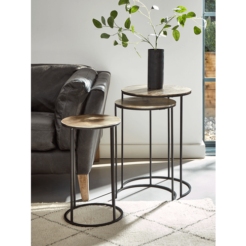 Three Gold Textured Nesting Tables