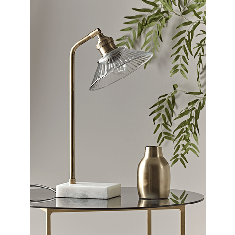 Antique Brass & Marble Desk Lamp