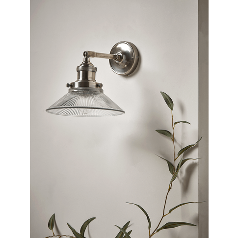 Antique Fluted Glass Wall Light - Silver