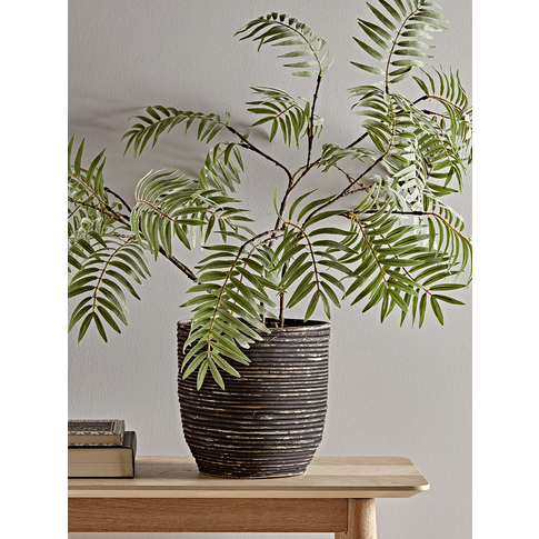 New Black Round Rattan Planter - Medium