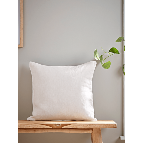 Washed Linen Square Cushion - White