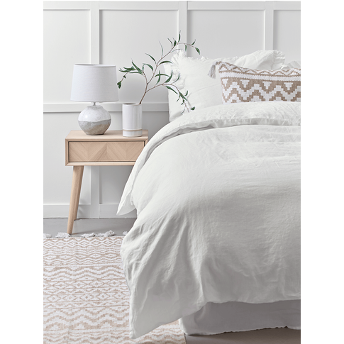 Washed Linen Double Duvet Cover - White