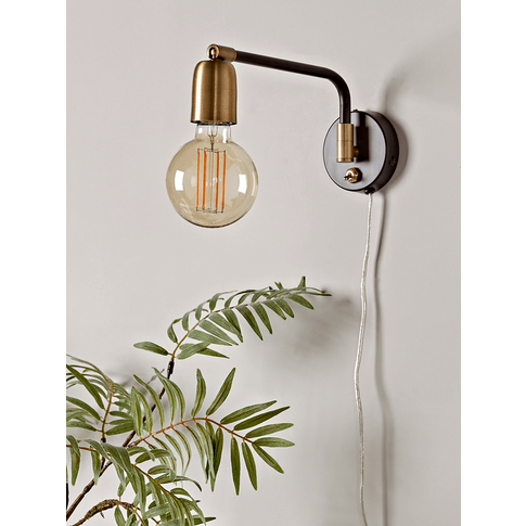 Hinged Black & Brass Wall Light