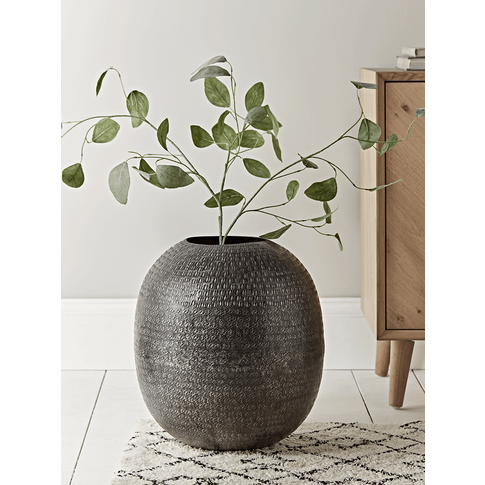 Handcrafted Textured Metal Vase - Oval