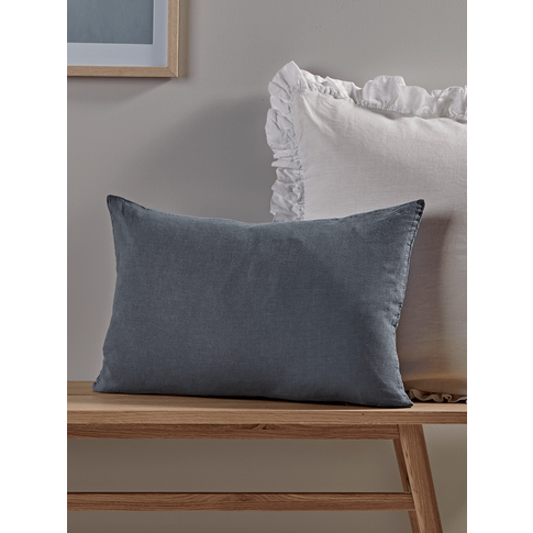 Washed Linen Rectangular Cushion - Soft Indigo