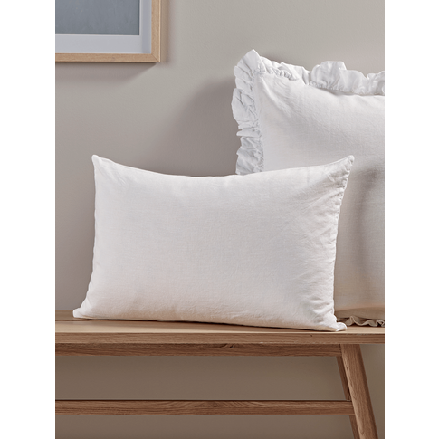 Washed Linen Rectangular Cushion - White