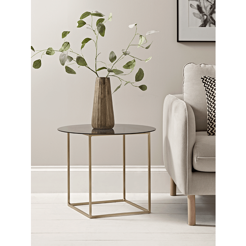 Smoked Glass & Brass Side Table