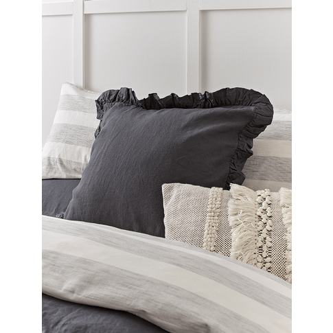 Washed Linen Ruffle Large Square Cushion - Charcoal ...