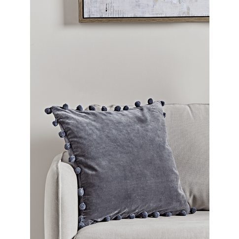 Velvet Pom Pom Cushion - Dark Grey