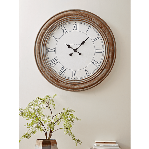 Wooden Grey Wash Wall Clock