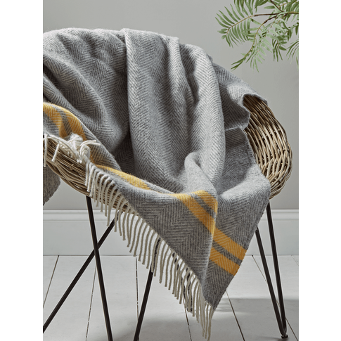 Soft Wool Throw - Mustard French Stripe