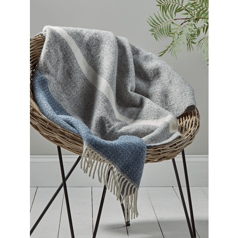 Soft Wool Throw - Blue & Grey