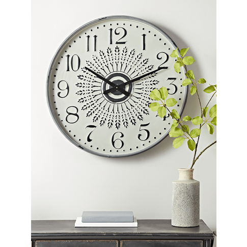 New Whitewashed Metal Clock
