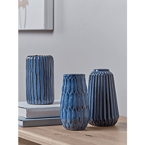 New Three Textured Blue Vases