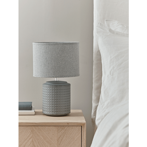 New Textured Bedside Lamp - Grey