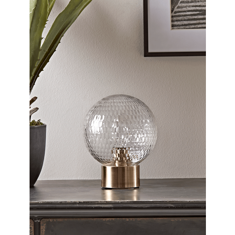 New Textured Globe & Brass Table Lamp