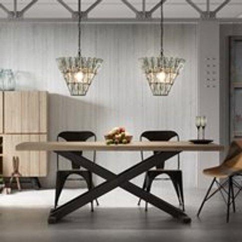Vita Cross Legged Dining Table in Black & Acacia