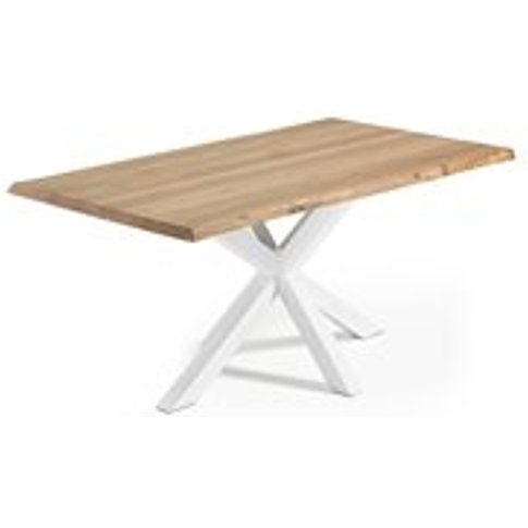Arya Cross Leg Dining Table In White & Oak