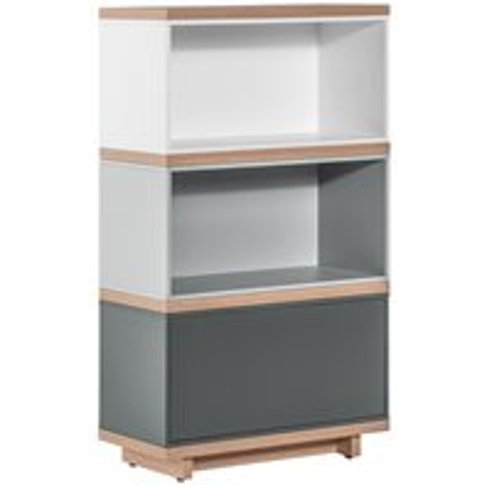 Vox Balance Narrow Modular Bookcase in White & Grey