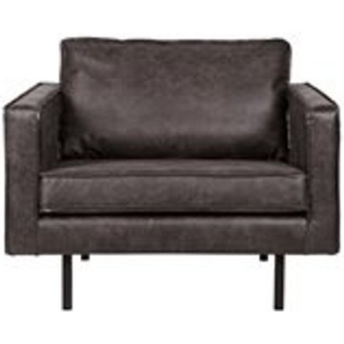 Rodeo Leather Armchair In Black By Bepurehome