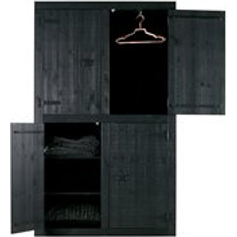 Matte Black 4 Door Pine Wardrobe By Woood