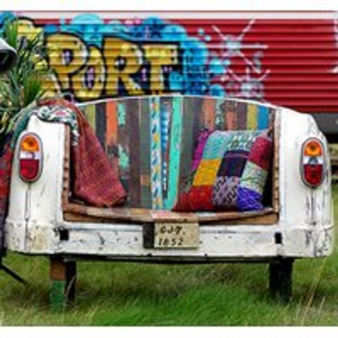 Reclaimed Taxi Tail Bench & Chair