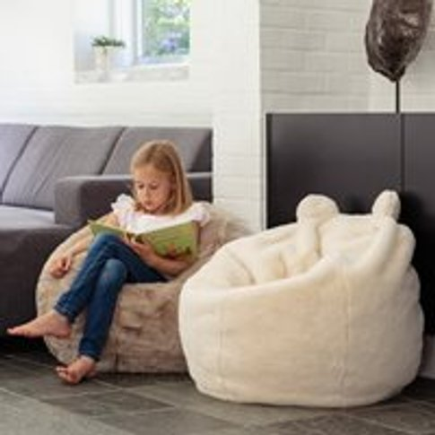 Kids Faux Fur Polar Bear Bean Bag