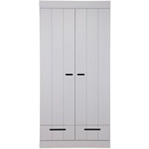 Connect Contemporary 2 Door Wardrobe in Concrete Gre...