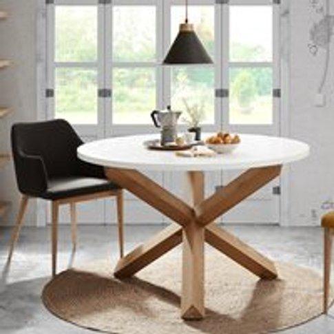 Nori Round Dining Table In White & Oak