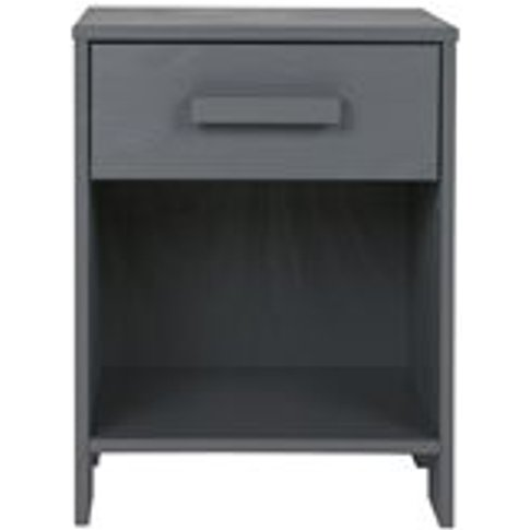 Dennis Bedside Table With Drawer In Steel Grey By Woood