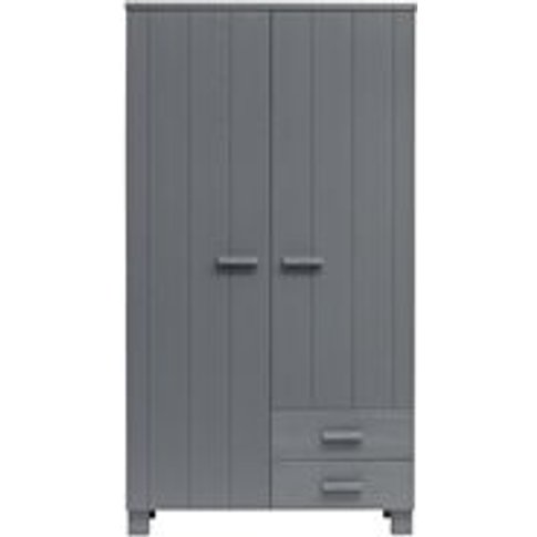 Dennis Wardrobe With Drawers In Steel Grey By Woood