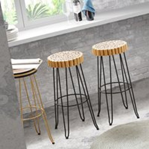 Evento Solid Teak Bar Stool in Yellow