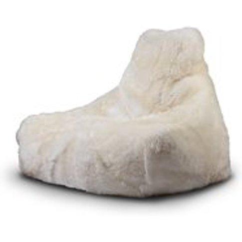 Extreme Lounging Mighty B Sheepskin Fur Bean Bag In Cream