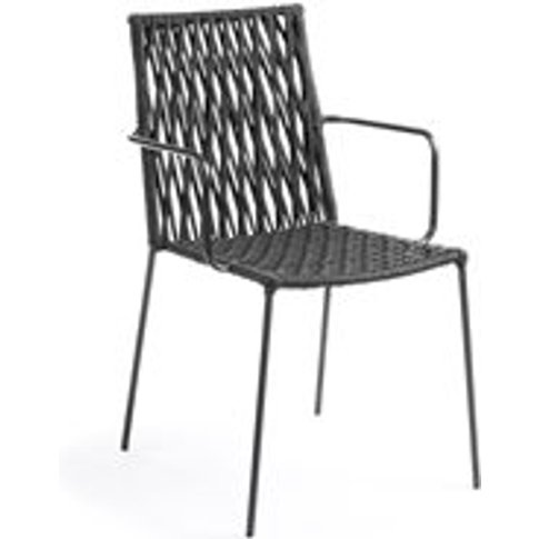 Set Of 4 Bettie Woven Rope Dining Chairs In Dark Grey
