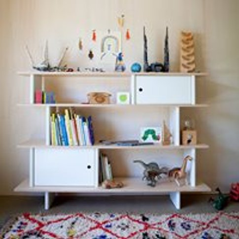 Oeuf Bookcase in White & Birch - Mini