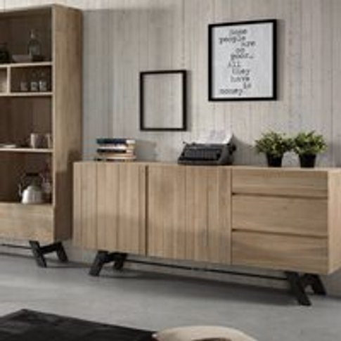 Vita Wooden Sideboard In Black & Acacia