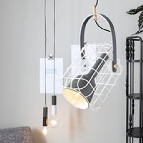 Cage Pendant Light In White