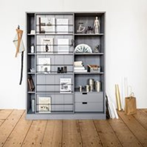 Swing Pine Cabinet With Sliding Door In Grey By Woood