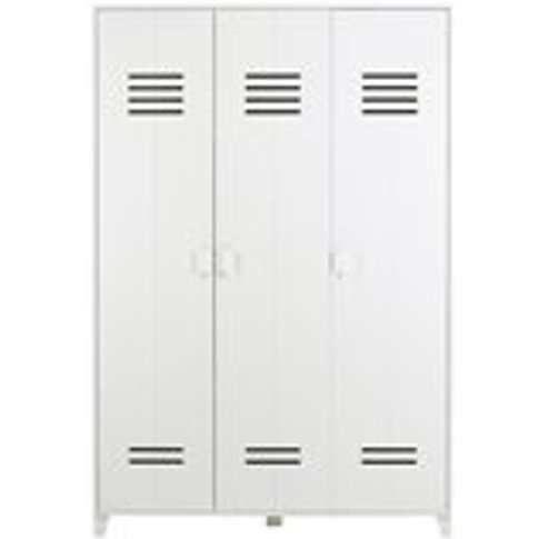Kids Locker Style 3 Door Wardrobe In White Pine By W...