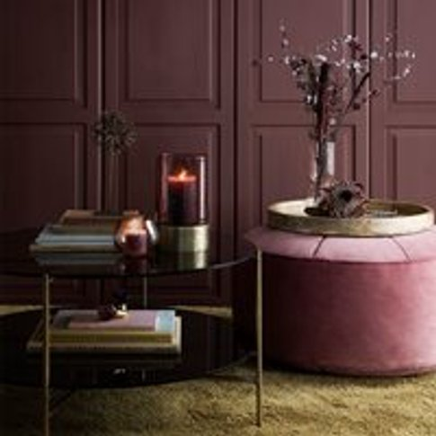Cozy Living Marocco Large Velvet Pouffe In Rouge