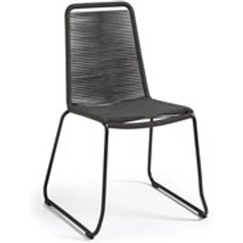 Set of 4 Meagan Rope Dining Chairs in Dark Grey